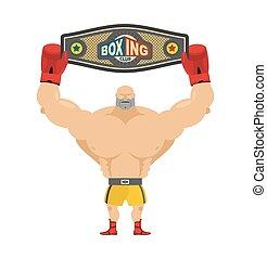 Boxing champion holds belt. Winner in competitions and boxing award. Champions belt. Boxer and award  Championship. Strongest man competitions