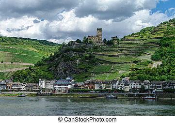 Romantic  Gutenfels medieval castle at Kaub in the famous Rhine Gorge north of Rudesheim, Germany.