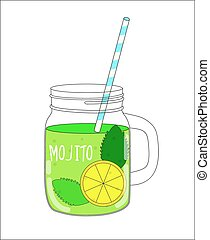Fresh Mojito with Lemon and Mint Vector Illustration EPS10