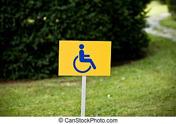 Disability sign on grass background