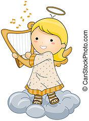 tocando, anjo, harpa