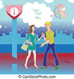 valentine date eros - Valentine's Day card, Love Day cartoon...