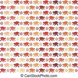 Red Monkeys seamless pattern Vector background for textile