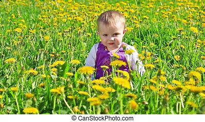 Cute girl on flower field in sunny day