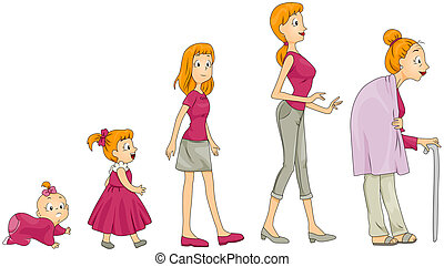 Life Stages - Woman\'s Life Stages with Clipping Path
