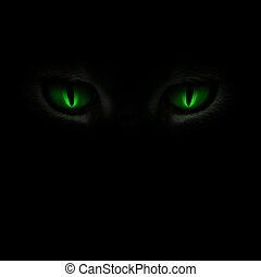 Green cats eyes glowing in the dark