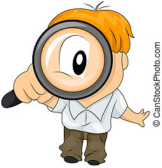 Magnifying Glass - Boy using Magnifying GLass with Clipping...