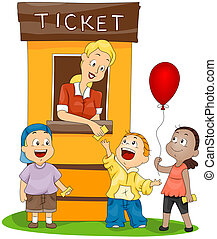 Children at the Ticket Booth with Clipping Path