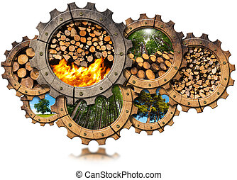 Firewood Production - Wooden Gears - Seven wooden cogs with...
