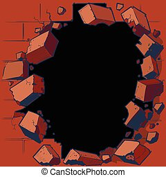 Hole Breaking Out Red Brick Wall - Vector cartoon clip art...