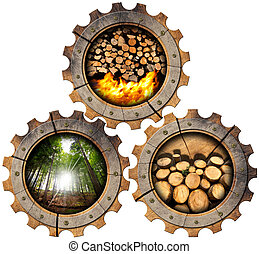 Firewood Production - Wooden Gears - Three wooden gears with...