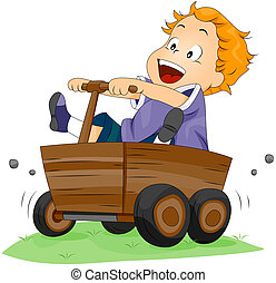 Boy on Wooden Kart with Clipping Path