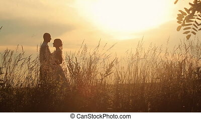 Young married couple softly kissing on the background of a sunset in the field