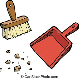Brush and dustpan - Cartoon brush and dustpan on a white...