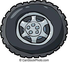Wheel and tire - Cartoon car wheel and tire vector...