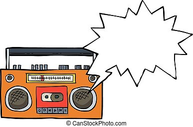 Cartoon cassette player doodle on white background vector...