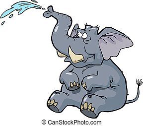Elephant squirting water - Cartoon elephant squirting water...