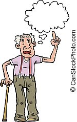 Cartoon grandpa says on a white background vector...