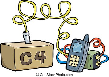 Remote control explosive - Cartoon doodle emote control...