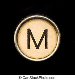 Typewriter letter M - The M button on a complete alphabet of...