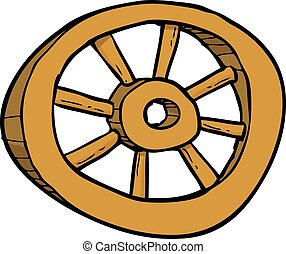 Cartoon wooden wheel doodle on a white background vector...
