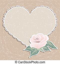 Vintage greeting card. Napkin in the form of heart and a rose.