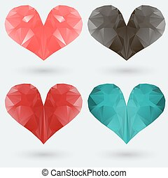 Set of polygonal colored hearts on a gray background Vector...