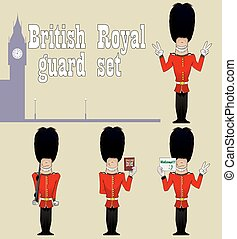 BEEFEATER. Guardians set - British royal guards in the...