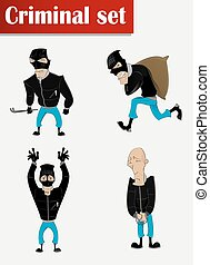 Robber in mask set - Cartoon criminal in mask set Observance...