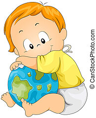 Baby Hugging Globe - Baby hugging Globe with Clipping Path
