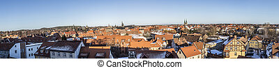 view to old medieval town of Quedlinburg - scenic view to...