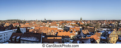 view to old medieval town of Quedlinburg