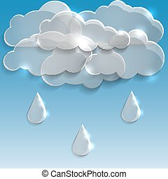 Glass clouds with rain. Spring background.