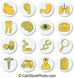 A set of flat round icons on medical subjects Yellow and...