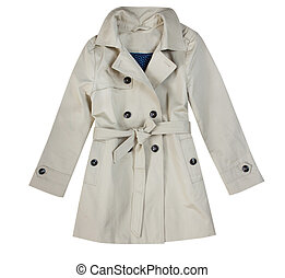 Fashion beige child girl trench coat isolated on white. -...