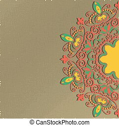 Mandala. Oriental floral ornament. Can be used as greeting card or invitation.