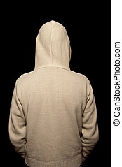 male in a hoodie funky clothes on black