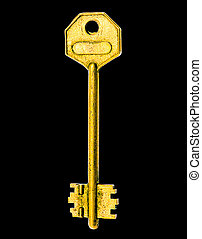 Golden Key - The Golden Key Over Black Background