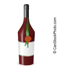 Bottle of wine with a wax seal isolated on white background....