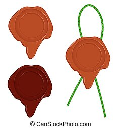 A set of three wax seal isolated on white background Vector...