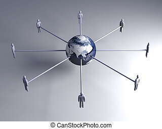 Global connections - Asia - 3D rendered Illustration....