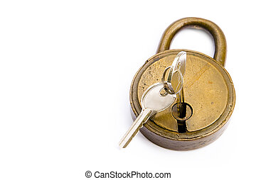 Lock/Unlock - Keys & Lock Isolated Over White