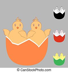 Two in one chicken egg. Abstract design template. Icon...