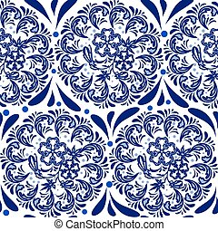 Blue seamless pattern in the style of Russian national pattern gzhel. Circular pattern mandala of flowers on a white background.
