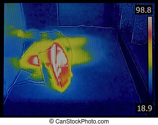 Iron Infrared Image - Hot Iron Infrared Thermal Image