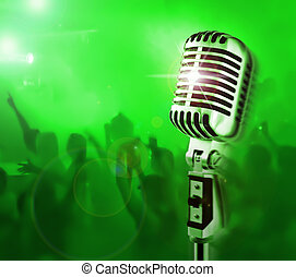Show Time - Professional Microphone Crowd Of Fans On A...