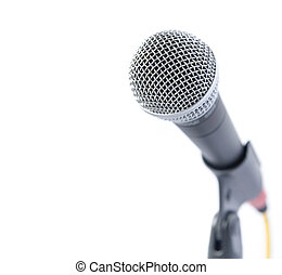 Professional Microphone Isolated Over White With Area For...