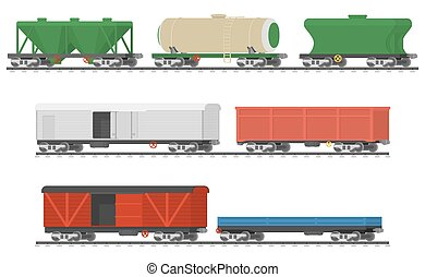 Essential Trains. Collection of freight railway cars....