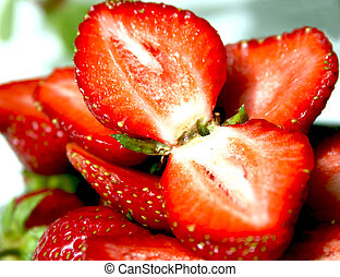 Ripe strawberry - Large lobules of fresh ripe strawberry
