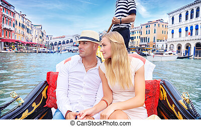 Happy couple traveling to Italy - Young happy couple...